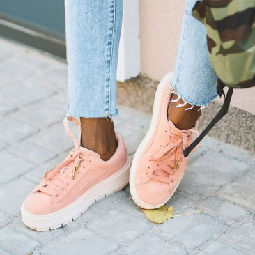 Pink Sneakers with White Soles